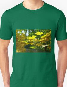 Maple branch with yellow leaves in the foreground T-Shirt