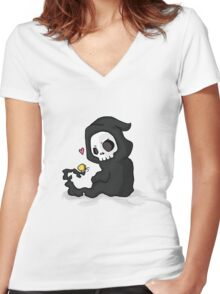 cute death Women's Fitted V-Neck T-Shirt