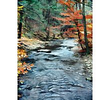 Colorful Autumn Leaves Beside Cool Blue Stream Photographic Print