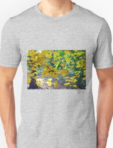Maple branches with yellow leaves in the foreground T-Shirt