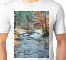 Colorful Autumn Leaves Beside Cool Blue Stream Unisex T-Shirt