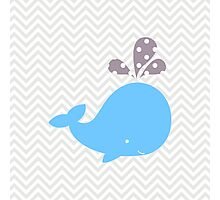 Light Blue Whale With Chevron Photographic Print