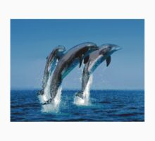 Leaping Dolphins in Crystal Water Spray Kids Tee