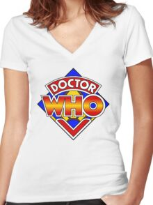 Doctor Who Diamond Logo - Colourful Women's Fitted V-Neck T-Shirt