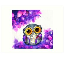 Owl in Purple Blossoms Art Print