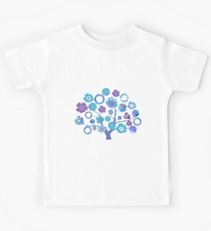 tree of life - blue blossoms Kids Tee