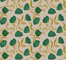 pattern with green flowers by bymuravka