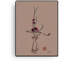 Life  -  Sumi e  Ikebana Zen drawing Canvas Print