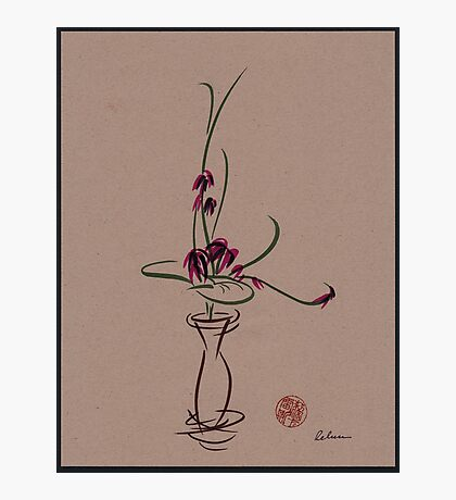 Life  -  Sumi e  Ikebana Zen drawing Photographic Print