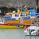 Devon harbour with boats by Woodie