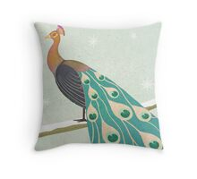 winter christmas peacock Throw Pillow