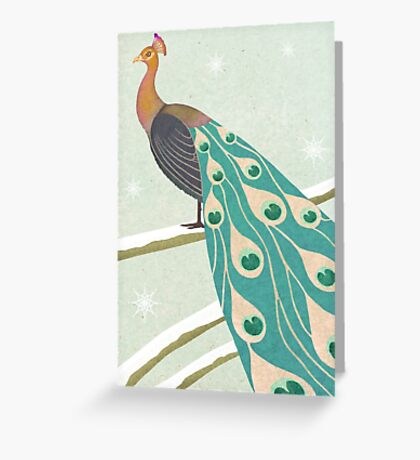 winter christmas peacock Greeting Card