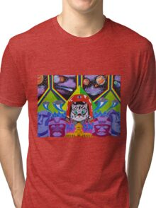 Psychedelic Ancient Cosmic Kitty Tri-blend T-Shirt