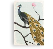 a peacock with pink flower Canvas Print