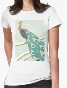 winter christmas peacock Womens Fitted T-Shirt
