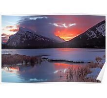 Red Sky over Rundle Poster