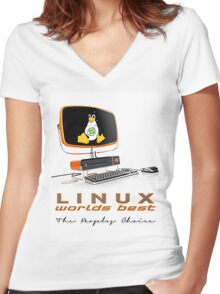 Linux Worlds Best - The Peoples Choice Women's Fitted V-Neck T-Shirt