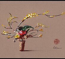 Dance of Spring - Ikebana Zen painting by Rebecca Rees