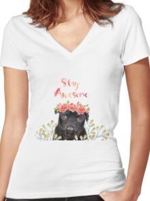 Stay Awesome Pug Women's Fitted V-Neck T-Shirt