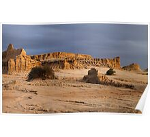 Ancient Land Forms at Sunset Poster