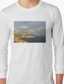Sunlit Limestone Cliffs in Malta Long Sleeve T-Shirt