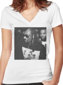 Snoop Dogg out and about at the Straight Outta Compton Premier Women's Fitted V-Neck T-Shirt