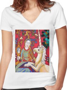 Lady & The Unicorn (La Vue) Women's Fitted V-Neck T-Shirt