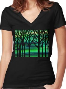 Spring Forest Abstract Painting Women's Fitted V-Neck T-Shirt