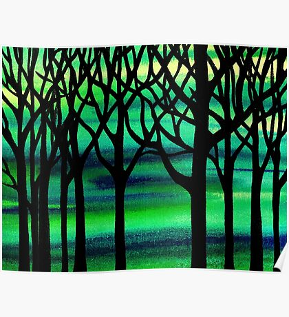 Spring Forest Abstract Painting Poster