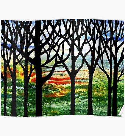 Summer Forest Abstract Painting Poster