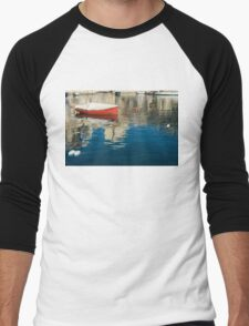 The Red Maltese Boat - a Little Fishing Boat at Anchor Men's Baseball ¾ T-Shirt