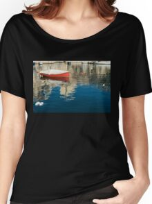 The Red Maltese Boat - a Little Fishing Boat at Anchor Women's Relaxed Fit T-Shirt