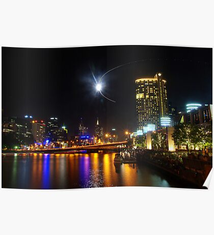 Melbourne's Yarra River on New Year's Eve Poster