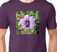 Purple Petunia with a Bee Unisex T-Shirt