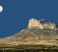 Guadalupe Peak And The Moon by Carolyn  Fletcher
