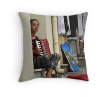 Playing the Accordian Throw Pillow