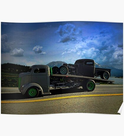 1940 Ford COE Roll Back Tow Truck Poster
