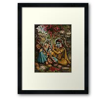 Radha playing vina Framed Print