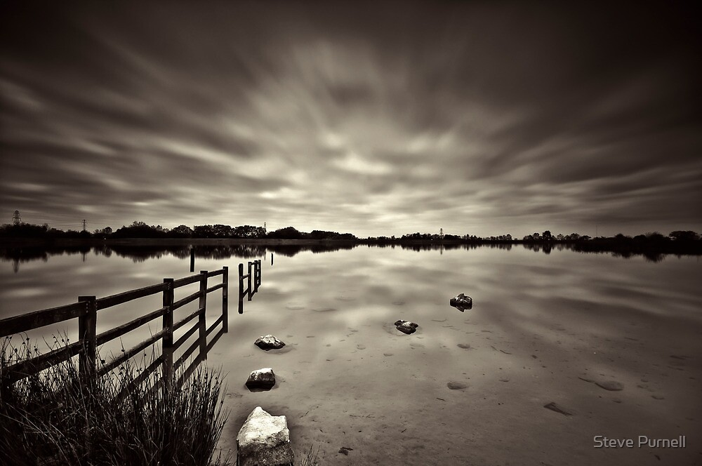 Lake Long Exposure Dark Mono by Steve Purnell