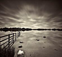 Lake Long Exposure Dark Mono by Steve Purnell
