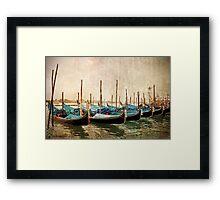 Beautiful gondolas at Venice waterfront. Framed Print