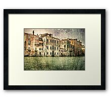 Vintage architecture on Grand canal, venice. Framed Print