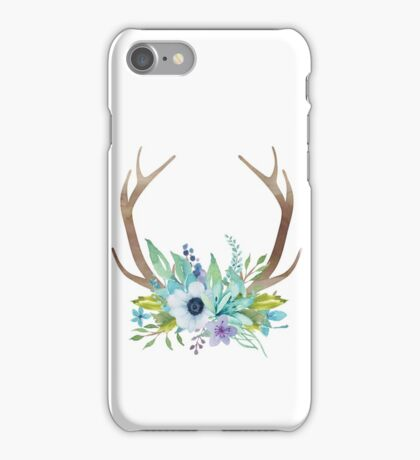 Watercolor flowers and antlers arrangement iPhone Case/Skin