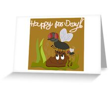 Flies on smiling, smelly poo funny cartoon Greeting Card