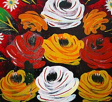 Detail of colourful rose painting on canal boat by buttonpresser