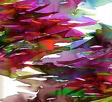 FERVOR 3 Colorful Autumn Fall Watercolor Rainbow Brushstrokes Splash Crimson Red Mauve Maroon Green Purple Fine Art by EbiEmporium