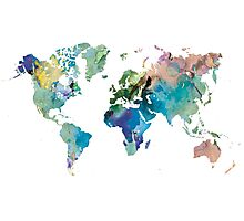 Watercolor world map Photographic Print