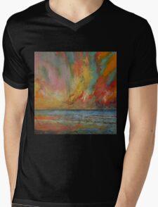 Hidden Heart Lava Sky Mens V-Neck T-Shirt