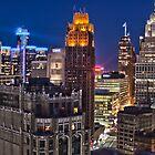 HDR of Detroit Skyline Sunset by Tina Logan