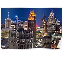 HDR of Detroit Skyline Sunset Poster